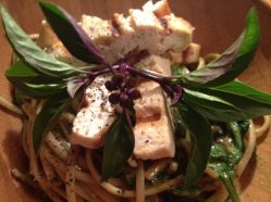 Thai Basil Soba with Grilled Tofu and Fresh Baby Spinach