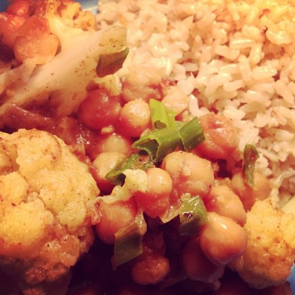 *curried cauliflower and chickpeas