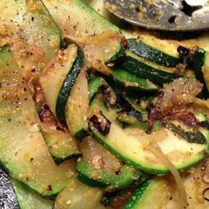 *Sautéed Zucchini, Pablano Pepper & Onions with Pan Toasted Polenta