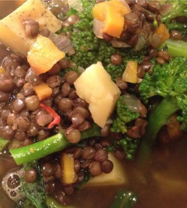 *french lentil broccoli potato soup