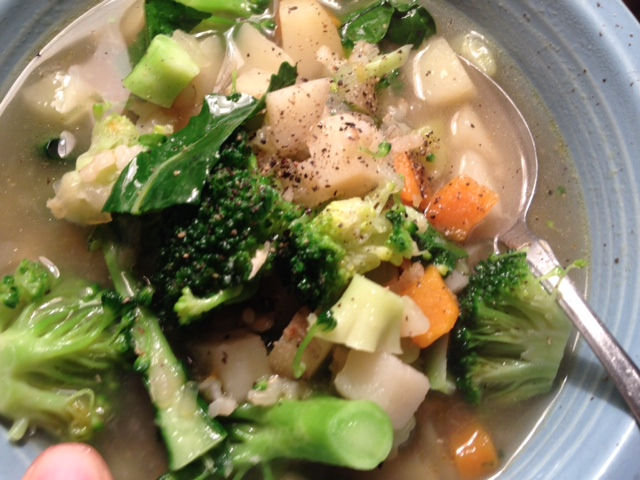 *broccoli and potato soup with brown rice