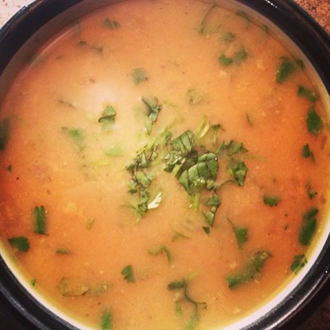 *curried moong dal soup