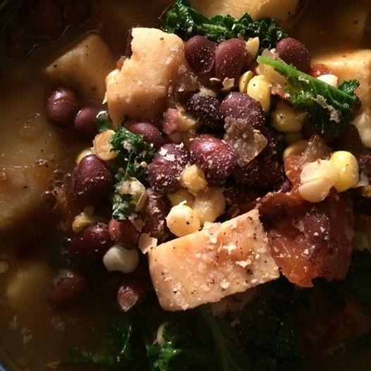 *Hearty Summer Black Bean Soup with Greens